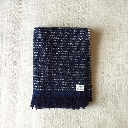 Gara-bou Medium Stole WS 50×190cm (Indigo Pin Border)