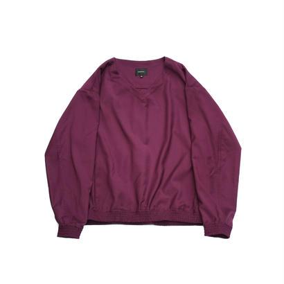 V-neck Pullover Shirt Jacket - Gabardine / Purple
