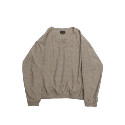 V-neck Pullover Shirt Jacket - Glen Check / Beige