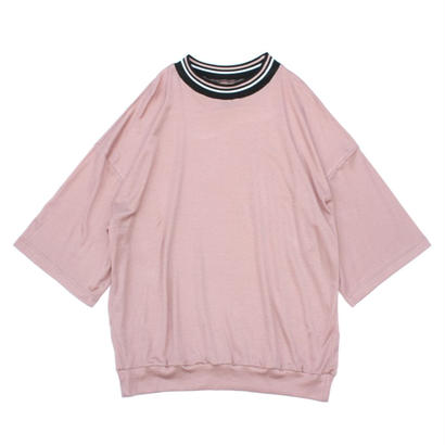 Stripe Rib Mock Neck Tee / Pink