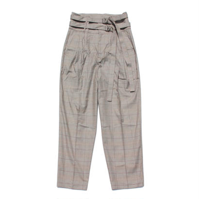 Double belted trouser - Glen check / Beige