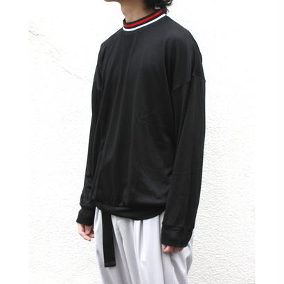 Stripe Rib Mock Neck LS Tee - Tencel Knit / Black
