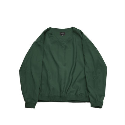 V-neck Pullover Shirt Jacket - Gabardine / Green