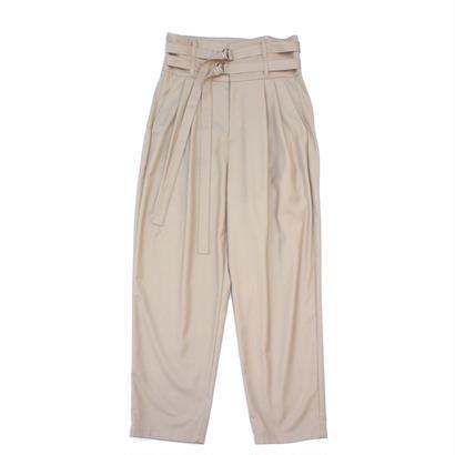 Double Belted Trouser - Gabardine / Beige
