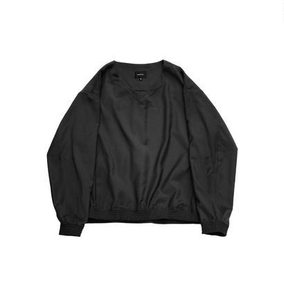 V-neck Pullover Shirt Jacket - Gabardine / Black