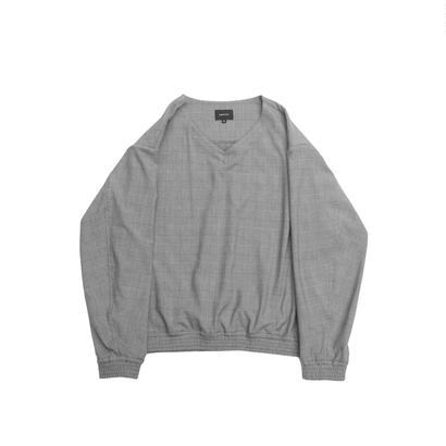V-neck Pullover Shirt Jacket - Glen Check / Grey