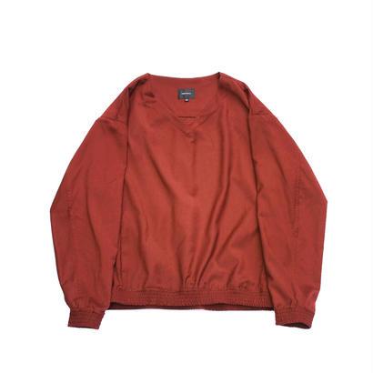 V-neck Pullover Shirt Jacket - Gabardine / Vermillion Red