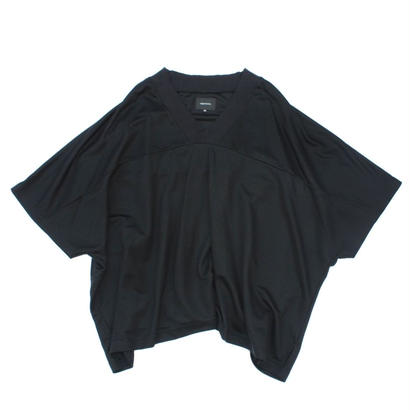 Jacquard Rib Foot Ball Poncho / Black