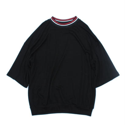 Stripe Rib Mock Neck Tee / Black