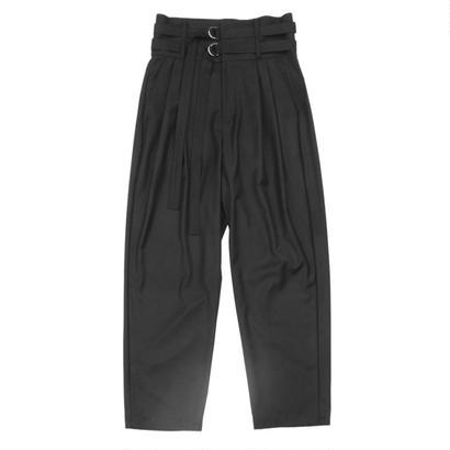 Double Belted Trouser - Gabardine / Black