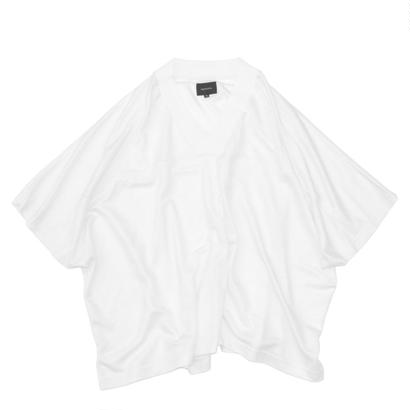 Jacquard Rib Foot Ball Poncho / White