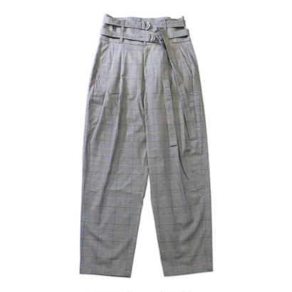 Double belted trouser - Glen check / Grey