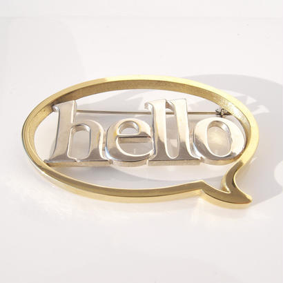 balloon+hello brooch | Silver × Brass