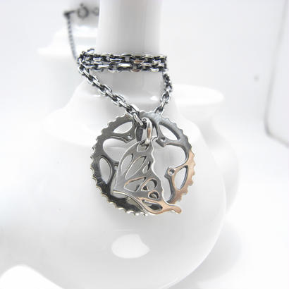 34T chainring necklace+蝶・片羽