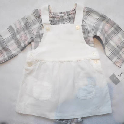 【carter's】チェック&コーデュロイジャンバースカート