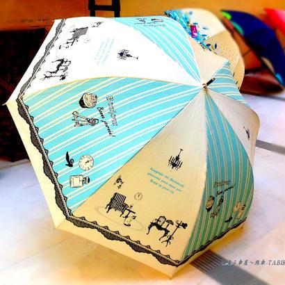 【2019年4月入荷】ドーム型 傘専門店 通販 東京 雨傘 人気レディース ワンタッチ ジャンプ サビにくい 黒骨 旅傘【ラメ Interior Blue】