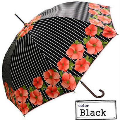 -15~18℃ 傘専門店  通販  東京  日傘  雨傘  晴雨兼用   ワンタッチ  ジャンプ  グラスファイバー  軽量  サビない 旅傘【シルバーコート ストライプFlower BLACK】