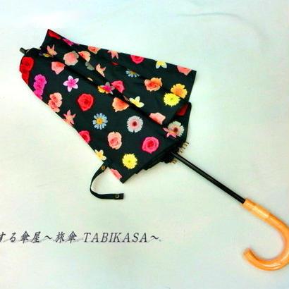 【折&長 】  傘専門店 通販 東京 雨傘 日傘 グラスファイバー 長傘  折り畳み 旅傘【MF ドットFlower Black】