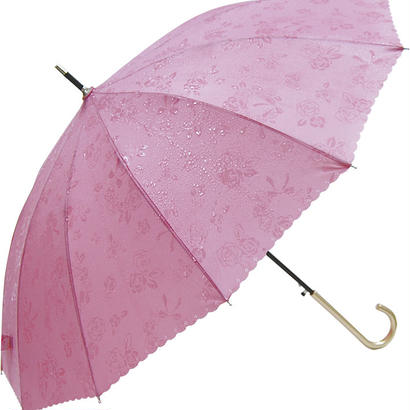 晴雨兼用 傘専門店  通販  東京  雨傘 ワンタッチ ジャンプ グラスファイバー サビない 旅傘【12本骨  浮水  ローズ  ピンク  】