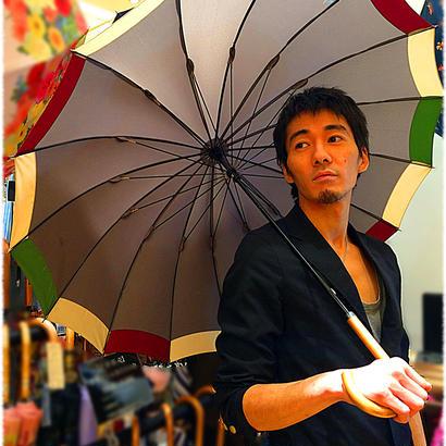傘専門店 通販 東京 雨傘 オリジナル メンズ レディース グラスファイバー サビない 超軽量 旅傘【ツートン 灰-臙脂/Beige/緑】