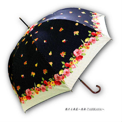 -18~19℃ 傘専門店 通販 東京 日傘 雨傘 晴雨兼用 ワンタッチ ジャンプ グラスファイバー 軽量 サビない 旅傘 【シルバーコート  cuteflower BLACK】