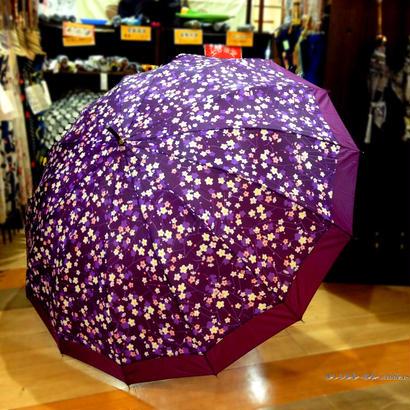 UVカット 傘専門店 通販 東京 雨傘 日傘 グラスファイバー 丈夫 旅傘【和柄  梅  紫】