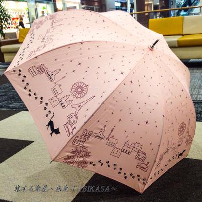 ドーム型 傘専門店  通販  東京  雨傘 人気 レディース ワンタッチ  ジャンプ  サビにくい  黒骨  旅傘 【ラメ入り  猫ちゃんの足あと ピンク】