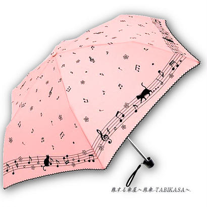 【晴雨兼用】傘専門店 通販 東京 折りたたみ傘 日傘 雨傘 晴雨兼用 遮光 遮熱 旅傘【シルバーコート 音符Cat Pink】