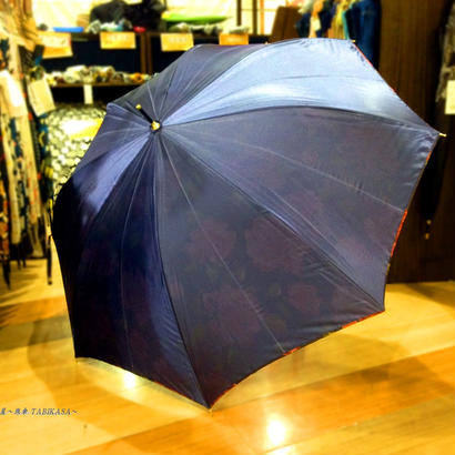 内花シリーズ 傘専門店 通販 東京 雨傘 ワンタッチ ジャンプ 黒骨 サビにくい 軽量 旅傘【サテンFlower  紺】