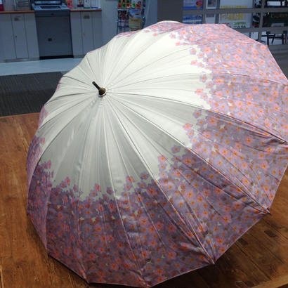 【実写】傘専門店 通販 東京 日傘 晴雨兼用 グラスファイバー サビない 遮光 遮熱 旅傘  【16本骨 サクラ White】