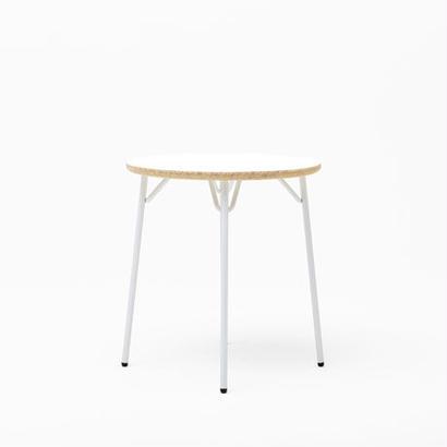 [chii]木片の圧縮材とスチール脚のシンプルテーブル φ650