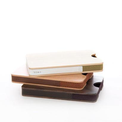 [kime]革、織ゴムを組み合わせた木製カードケース