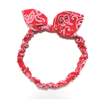 ベビー用  バンダナ柄 うさ耳 リボン ヘアバンド(日本製)Sサイズ