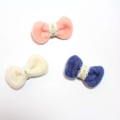 ベビー用【雑誌掲載商品】ふわふわリボンヘアピン3個セット(日本製)すべり止め付き