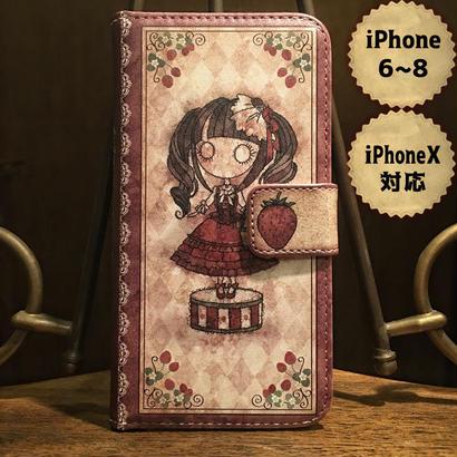 iPhone X , 6~8『首吊り苺』手帳型ケース