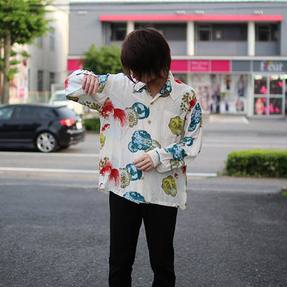 japanese pattern open collar silk shirts