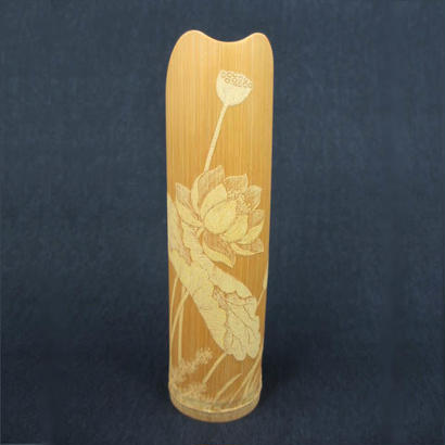 高級竹製茶則ー蓮柄