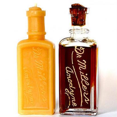 香水瓶から作ったプチキャンドル - アンティークボトルの蜜蝋キャンドル