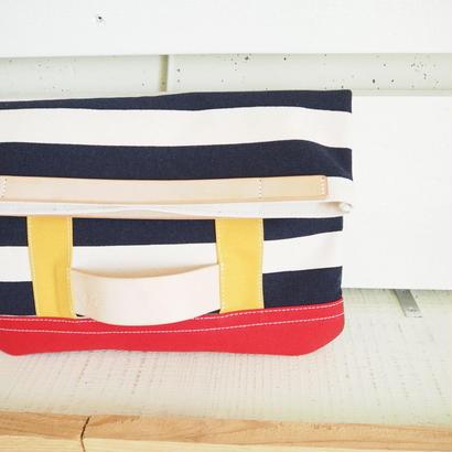 帆布2wayクラッチバック(ネイビーボーダー)
