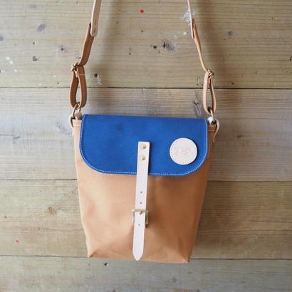 帆布ポスティングバッグ(キャメル×ブルー)