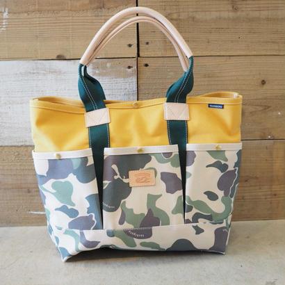 帆布ガーデニングバッグ(カモフラージュ×マスタード×ダークグリーン)