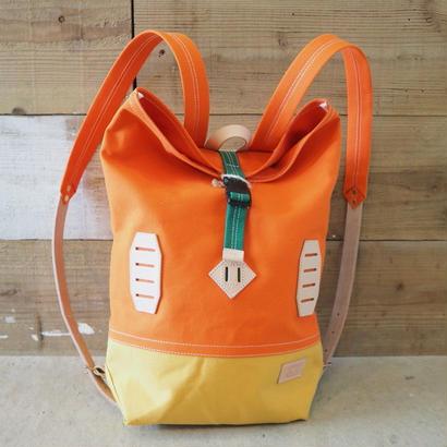 帆布BAGPACK(オレンジ×マスタード×グリーン)