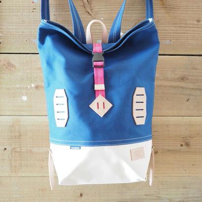 帆布BAGPACK(ブルー×ホワイト×ピンク)