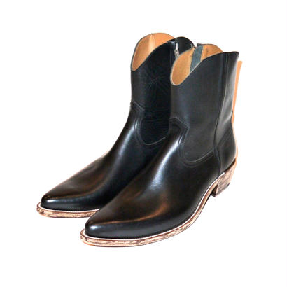 Western Leather Side Zip Pointed Boots.