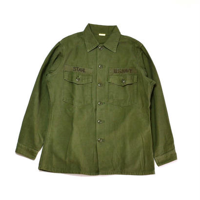 1970s US NAVY / Cotton Utility Shirts(USネイビー / L/Sシャツ)ms-0003