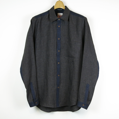TIB_39 FRANK LEDER Brown Chequed Linen Shirt