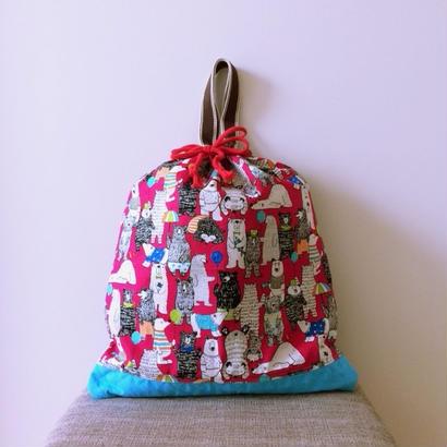 巾着手提げバッグ くまピンク
