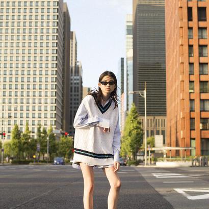 ALLEGE / Line knit vest (Unisex)