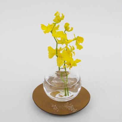 一輪挿しガラス(露型)+受け皿(茶・盤)