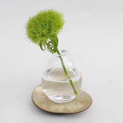 一輪挿しガラス(滴型)+受け皿(白・盤)
